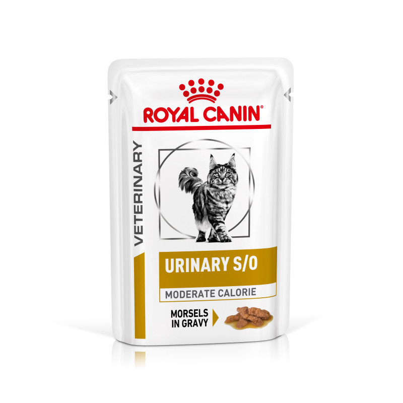 Royal Canin Veterinary Health Nutrition Cat Urinary Moderate Calorie Pouch in Gravy 12x 0.085 Kg